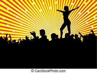 danseur, foules, deux personnes