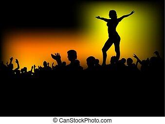 danseur, foules, gens, une