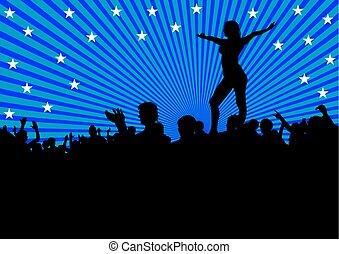 danseur, foules, trois personnes