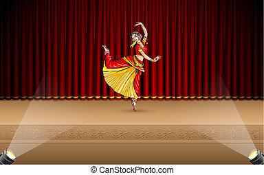 danseur, indien, classique
