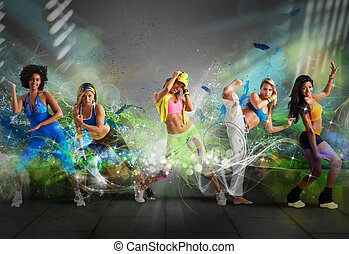 danseur, moderne, équipe