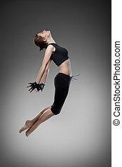 danseur, noir, jeune, sauter