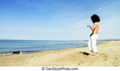 danseur, plage, frais