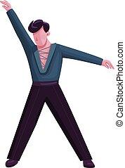 danseur, plat, isolé, toile, performer., retro, mâle, salle bal, élégant, latino, disco, character., danse, dessin animé, animation, fête, conception, vecteur, anonyme, illustration, homme, graphique, couleur, solo