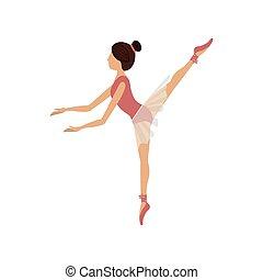danseur, pose, coloré, cinquième, arabesque