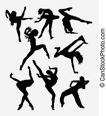 danseur, silhouette, beau