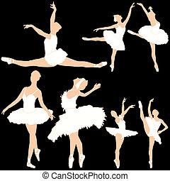 danseurs ballet, ensemble, silhouettes