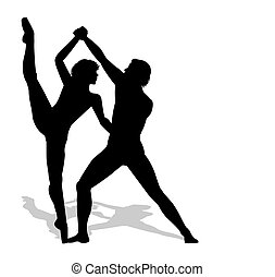 danseurs ballet, silhouette