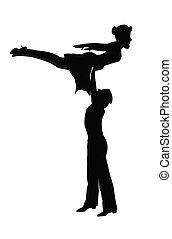 danseurs, dans, mi air