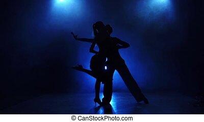 danseurs, danse, moderne, exécuter, silhouette, lent, paire, mouvement