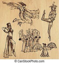 danseurs, -, dessin, main