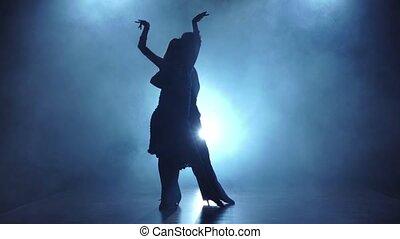 danseurs, enfumé, couple, latinamerican, gracieux, lent, poser, mouvement