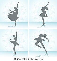 danseurs, ensemble, ballet, silhouettes.