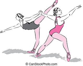 danseurs, illustration, ballet