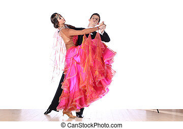 danseurs salle bal, isolé, fond, blanc, latino