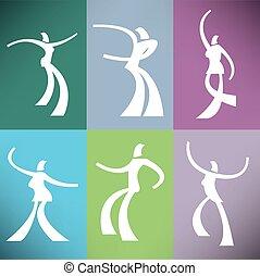 danseurs, stylisé, ensemble, six