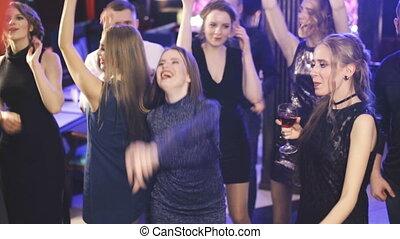 danseuses, nuit, amis, avoir, fête, dehors
