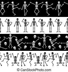 Dansing skeletons horizontal pattern