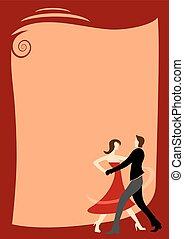 danszaal, frame, dancing, decoratief