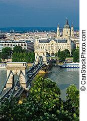 Danube and Szechenyi Chain Bridge, Budapest