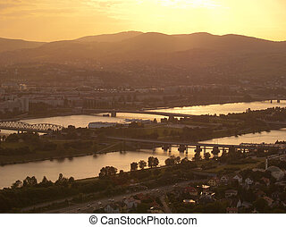 Danube at sunset, Vienna