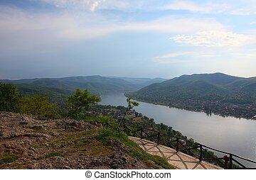 Danube bend in Hungary - landscape from Visegr