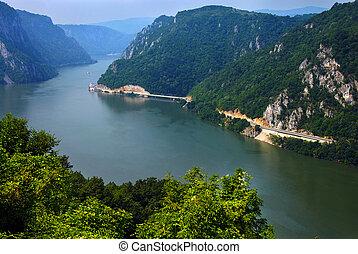 Danube valley Veliki Kazan on the Serbian-Romanian border