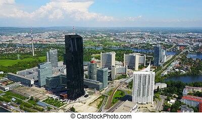Danube City aerial, Austria - Danube City or Donaustadt...