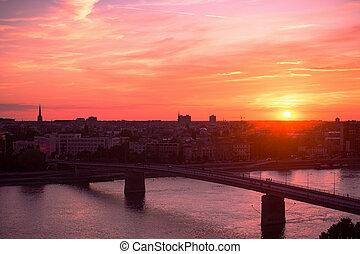 danube, coucher soleil, rivière