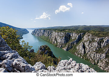 Danube gorge, Danube in Djerdap National park, Serbia....