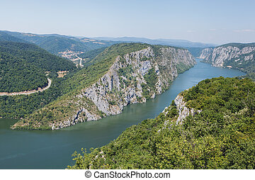 Danube gorges - Danube in Djerdap National park, Serbia. ...