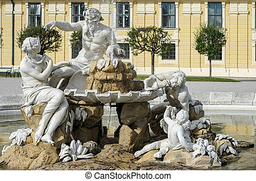 Danube, Inn, and Enns statues at the Schonbrunn Palace in Vienna