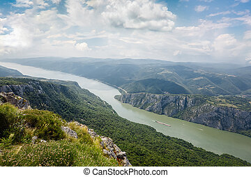 Danube river at Iron Gate gorge