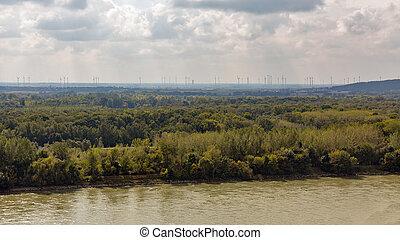 Danube river in Bratislava, Slovakia.