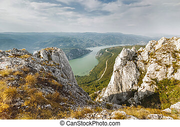 Danube river in Djerdap National park, Serbia