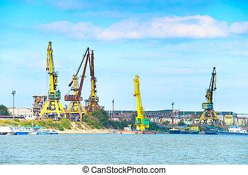 Danube river industrial cargo port