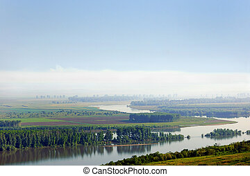 Danube river. Left side coast is Romanian territory and...
