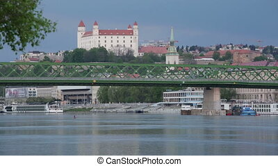 Danube river view, the bridge and the Medieval castle in...