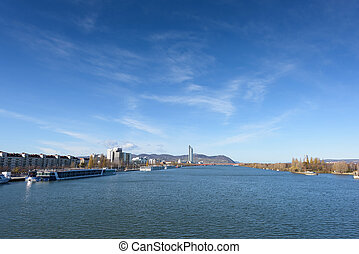 Danube river view with ferryboat in Vienna