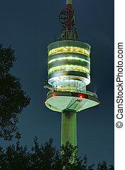 Danube tower in Vienna - night scene of Donauturm in Vienna,...