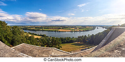 Danube valley panorama from the famous temple Walhalla near...