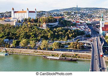 Danube waterfront, bridge and Bratislava city