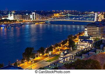 danubio, budapest, río, puente, aéreo, encima, elisabeth,...
