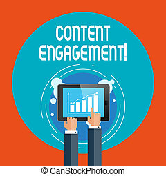 dany, smartphone, bar, doprowadzenia, engagement., wykres, tekst, pokaz, kawał, screen., znak, zadowolenie, czyn, dotykanie, użytkownik, fotografia, konceptualny, biznesmen, spoinowanie, ręka, kreska