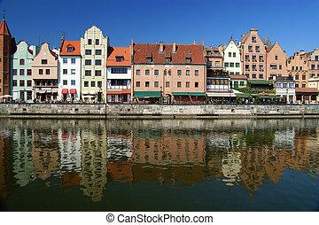 danzig, contorno costa, gdansk, século, polônia, 13th