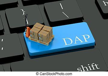 dap, deliwery, 概念, 上に, 青, キーボード, ボタン