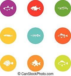 dap, fish, アイコン, セット, 平ら, スタイル
