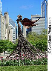 daphine, jardín, estatua
