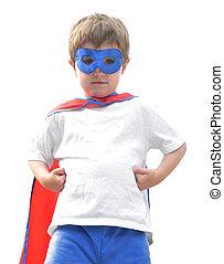 dapper, super held, jongen, op wit