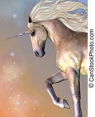 Cosmic stars surround the beauty of a dapple buttermilk unicorn as he prances across the universe.